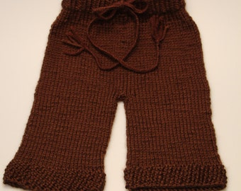 Hand knitted newborn infant baby pants photo prop brown boy girl