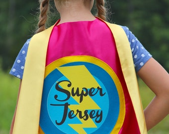 Kids Halloween Costume - GIRLS PERSONALIZED SUPERHERO Cape - Ships Fast - Choose your colors - Full Name Customized Present