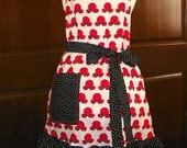 A Style Apron with 5 inch Double Ruffle Silhouettes of Mickey Handmade for Cooking Cleaning Craft Activities and Tons of Fun