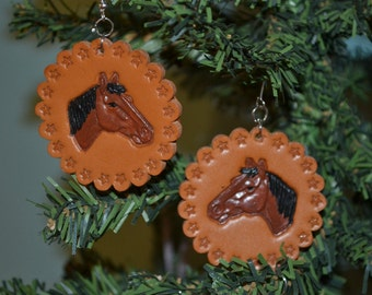 Handmade Leather Earrings.  These lovely, lightweight earrings are hand painted.