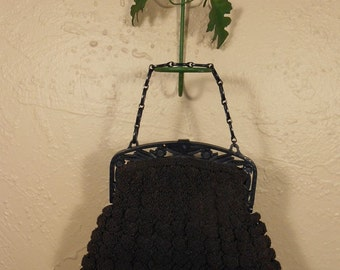 I Am Just Popping Off to the Shops - Vintage 1940s WW2 Navy Blue Rayon Popcorn Knitted Bag w/Celluloid Handle