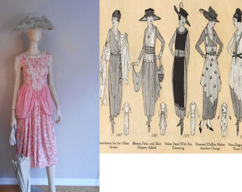 Marion Harris Sings Her Hit Song - Vintage 1919 Delicate Pinks Floral Print Muslin Dress w/Polonaise Sides - Amazing