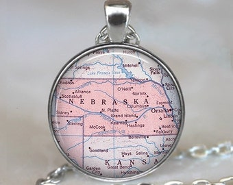 Nebraska map necklace, Nebraska map pendant, Nebraska pendant, Nebraska necklace, Nebraska keychain key chain