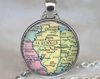 Illinois map pendant, Illinois map jewelry Illinois necklace Illinois pendant Illinois state map pendant Illinois keychain key chain key fob