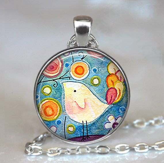 Whimsical Bird art pendant charm, cute bird art necklace, whimsical bird pendant, whimsical bird necklace bird keychain key chain