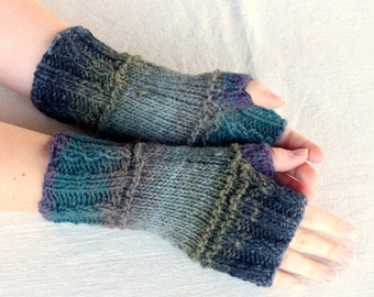 Hand Knit Fingerless gloves - wool fingerless glove mittens - wool gloves - womens gift for her