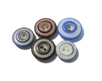 China Buttons Double Ringers VINTAGE Assorted Colors Five (5) Double Ringers China Buttons Stencils Vintage Jewelry Sewing Supplies (L58)