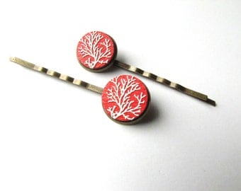 Red and White Branch Bobby Pins