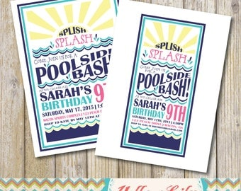 Splish Splash Pool Party Invitation- Pool Party / Birthday Party / Water Slide Party / Slip-n-Slide Party