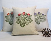 Hand Block Printed Green Cactus Desert Landscape Pillow - Your Choice of Flower Color
