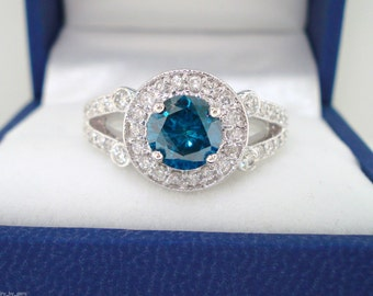 Blue Diamond Engagement Ring 14k White Gold 1.50 Carat Certified Handmade Halo