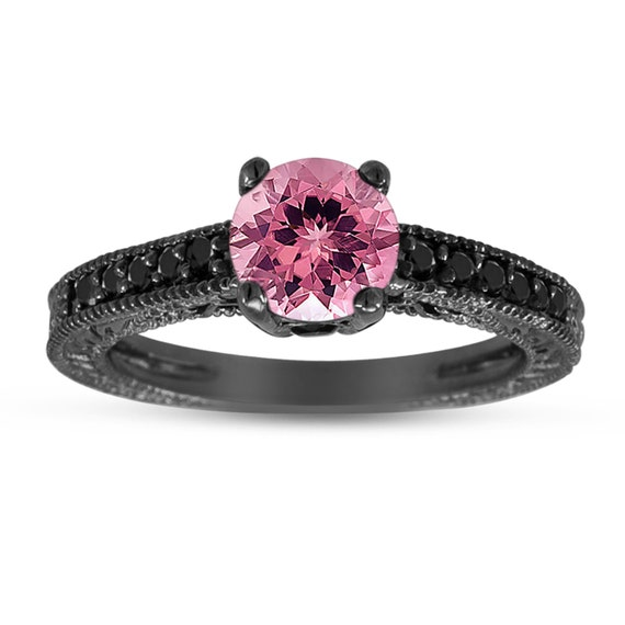 Pink Tourmaline & Black Diamond Engagement Ring 14K Black Gold
