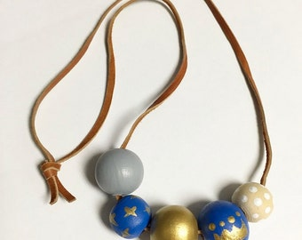 KANSAS CITY ROYALS Hand-Painted Necklace, for kids, wooden beads