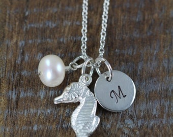 Seahorse Necklace - Personalized Seahorse Charm 925 Sterling Silver Initial Necklace - Beach Themed Jewelry