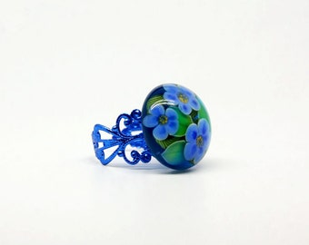 Blue ring Lampwork Ring   Glass Ring  Floral Ring