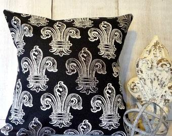 Black Pillow Cover - Fleur De Lis Decor - Paris Apartment - French Cottage Decor