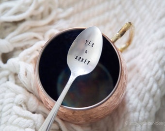 Tea and Honey - Hand Stamped VintageTeaspoon for Your TEA Lover this Valentines