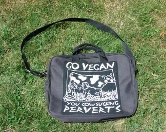 Vegan Messenger Bag, Black, Go Vegan Cowsucking Perverts - Vegan Bag, Book Zipper Bag Computer Laptop Animal Liberation Tote Bag School Bike