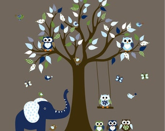 Children's Wall Decal, Boys Decals, Owls, Swing, Nursery Wall Decal, Kids Wall Decal, Owl Tree Decal