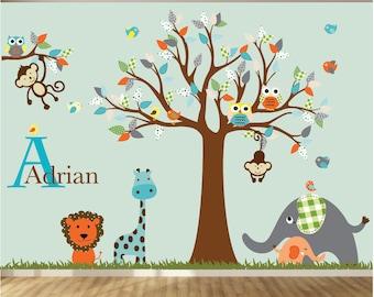 Jungle Safari Tree Monkeys Elephant Giraffe Vinyl Wall Art Decals Nursery Kids Boy girl