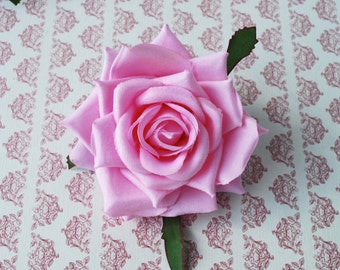 Clip and brooch silk rose in pink hair flower pin up vintage rockabilly style wedding