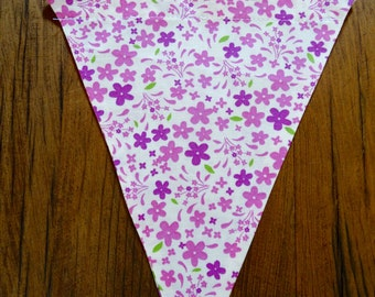 Fuchsia, Pink Flowers on Cream Fabric Bunting Flag, Party Pennant, Reusable Decoration Customize Your Own Party Garland