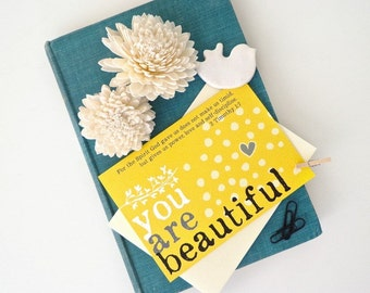 Women card set. Encouragement cards. Scripture card 2 Timothy 1:7. You are beautiful greeting notecards. WC450