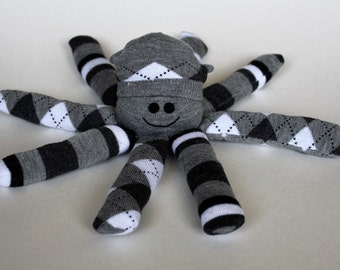 Socktopus - Gray and White Argyle and Stripes Octopus Toy