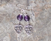 Heart Earrings, Amethyst Earrings, Natural Stone Earrings, Prayer Earrings, Meditation Earrings, Handmade Gemstone Earrings, Purple Earrings