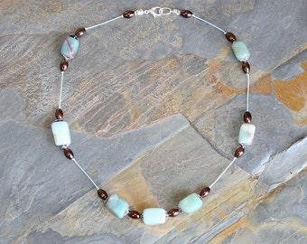 Aqua Blue Necklace, Amazonite Necklace, Natural Stone Necklace, Blue Stone Necklace, Spring Jewelry, Handmade Necklace, Blue Brown Necklace