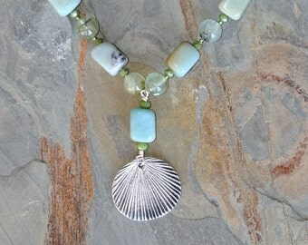 Shell Necklace, Natural Stone Necklace, Amazonite Necklace, Prehnite Necklace, Light Blue Necklace, Light Green Necklace, Summer Necklace