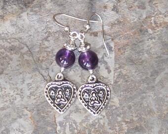 Heart Earrings, Amethyst Earrings, Natural Stone Earrings, Prayer Earrings, Meditation Earrings, Handmade Gemstone Earrings, Purple Earrings