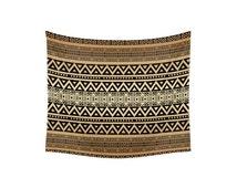 Wall Tapestry, tribal tapestry, Bohemian decor, boho tapestry, hippie wall decor, beach blanket, sofa throw, tribal pattern, mocha brown