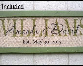 "Last name sign, burlap print, burlap wedding signs, family name sign, family name plaque, 10"" x 26"" framed burlap sign, personalized sign"