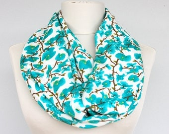 SAKURA / Infinity scarf floral loop scarf summer scarves spring scarf  teal blue turquoise blue mothers day gift for her womens fashion