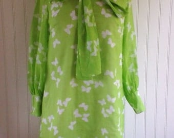 Weekend Sale 34% off 1960s Long Sleeved Summer Dress with Butterfly Print, Green and White, Size Large,  #50986
