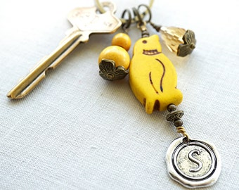 Summer Party Yellow Penguin Keychain Colorful Keychain Personalized Keychain Initial Keychain Wax Seal Personalized Women gift for her