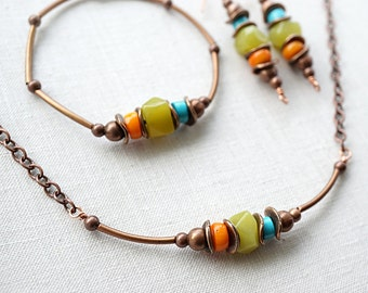 Summer Party Gift Bohemian Jewelry Bohemian Necklace Turquoise Jade Coral Boho Jewelry Rustic Gemstone Necklace Chain Bracelet Tribal Copper