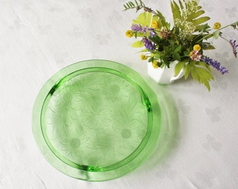 Vintage Green Depression Glass Cake Stand Sunflowers