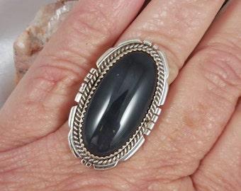 Huge Black Onyx Sterling Silver Ring