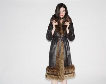 Vintage 1960s Leather and Fur Coat - Vintage 60s Fur  Coats - Leather Princess Coat - WO0176