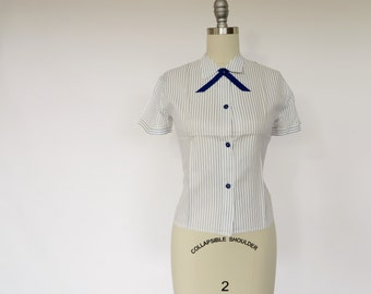 Vintage Rayon Shirt / Rayon Blouse / 1940s Blouse 1950s Blouse / Blue & White Stripe Blouse / Rayon Shirt / Deadstock