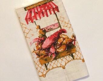 Linen Tea Towel Fish Market - Lobster Fish Nets Clams