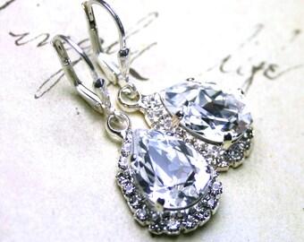 Elegant Teardrop Earrings - Swarovski Crystal Teardrop Halo Earrings with Sterling Silver Leverbacks - Bridal Earrings