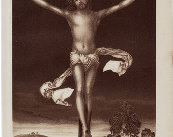 1893 Edwardian CRUCIFIX  print OF Jesus on the cross of Albrecht Dürer,104 years old gorgeous chromolithograph