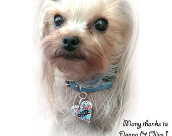 Heart Dog and Cat ID Tag - Small Blue Sprinkles - Personalized 3.2 cm - Cute Dog Id Pet Tag - Handmade Waterproof Pet Dog Collar Accessory