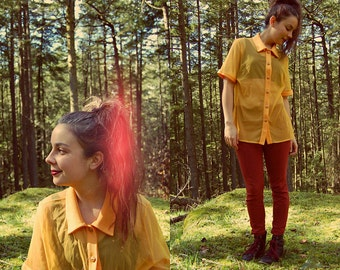 Vintage 90s SHEER NEON Yellow Orange Gold BLOUSE with Enamel Buttons