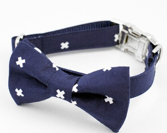 Bow Tie Dog Collar - Navy X