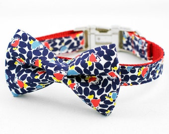 Dog Bow Tie Collar - Blue and Red Floral
