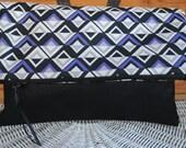 Foldover clutch periwinkle black geometric print black vinyl two-tone tablet e-reader case cruise-wear weekend getaway
